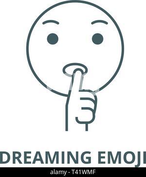 Dreaming emoji  line icon, vector. Dreaming emoji  outline sign, concept symbol, flat illustration - Stock Photo