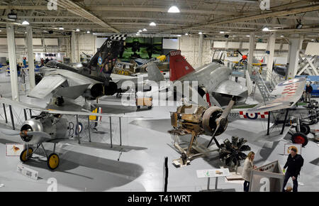 A collection of war planes at the RAF Museum, London, UK - Stock Photo