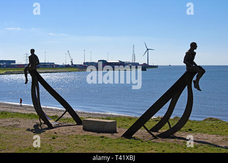 'Ship', metal sculpture by Anna Gillespie, 2019. Half Moon Bay, Heysham, Lancashire, England, United Kingdom, Europe. - Stock Photo