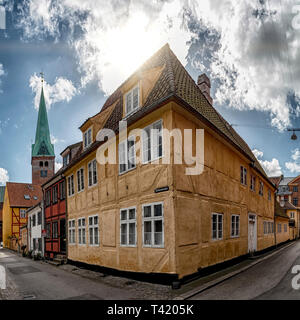 One of the many very old buildings in the old town of Helsingor in Denmark. - Stock Photo