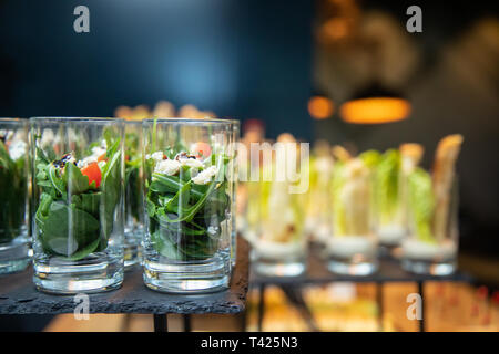 Beautifully decorated catering banquet table - Stock Photo