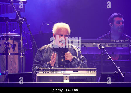 Berlin, Germany. 12th Apr, 2019. The Italian music producer and composer Giorgio Moroder sings 'The Celebration of the '80s Tour' on stage at the Tempodrom for the German opening. Credit: Annette Riedl/dpa/Alamy Live News - Stock Photo