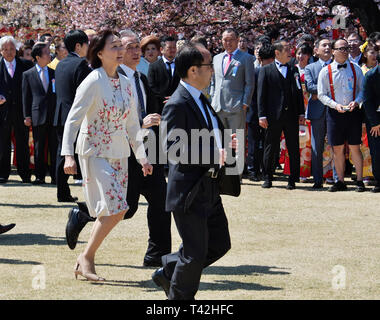 Tokyo, Japan. 13th Apr, 2019. Akie Abe attends the cherry blossom viewing party at the Shinjuku Gyoen National Garden in Tokyo, Japan on April 13, 2019. Credit: Aflo Co. Ltd./Alamy Live News - Stock Photo
