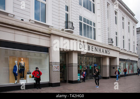 Cork, City, Cork, Ireland. 13th Apr, 2019. Debenhams Department Store on Patrick's Street, Cork, Ireland. One of the largest retailers in the UK and Ireland, Debenhams went into administration this week with plans to close up to 50 stores. Concerns have been raised about the future of its eleven stores across Ireland. The company operate two shops in Cork, one on St Patrick's Street and the other in Mahon Point Shopping Centre where between these two they employ over three hundred people. Credit: David Creedon/Alamy Live News - Stock Photo