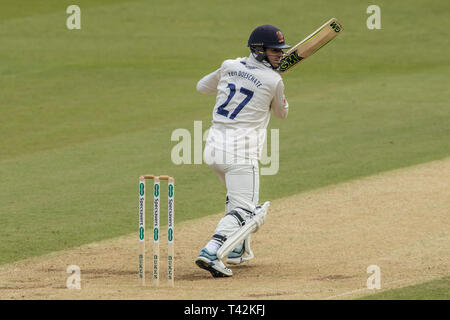 London, UK. 13th Apr, 2019. Ryan ten Doeschate batting as Surrey take on Essex on day three of the Specsavers County Championship match at the Kia Oval. Credit: David Rowe/Alamy Live News - Stock Photo