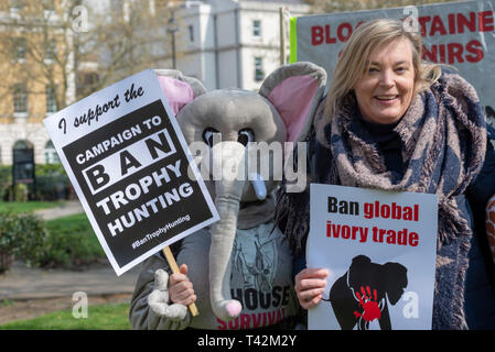 Protest march taking place in London demonstrating against the threat of extinction of wildlife and highlighting the act of trophy hunting in particular of elephants and rhinos. It is part of the 5th global march for elephants and rhinos and is timed to take place before a conference in Sri Lanka calling to uplist elephants to Appendix I - Stock Photo