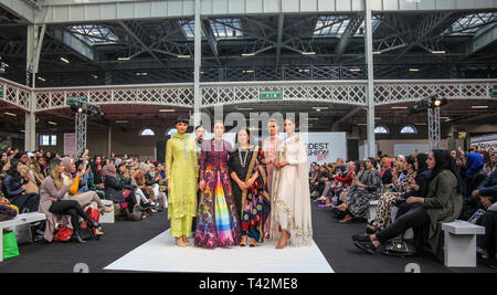 London UK 13 April 2019  Modest Fashion  show at the Muslim shopping Festival with designers AAB,Thread Palette London Dalayfa ,Saiqa MAbaya Boothajeed  @Paul Quezada-Neiman/Alamy Live News - Stock Photo