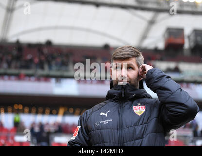 Sport Board Thomas Hitzlsperger (VfB Stuttgart). GES/Football/1. Bundesliga: VFB Stuttgart - Bayer 04 Leverkusen, 13.04.2019 - Football/Soccer 1st Division: VFB Stuttgart vs Bayer 04 Leverkusen, Stuttgart, Apr 13, 2019 - DFL regulations prohibit any use of photographs as image sequences and/or quasi-video. | usage worldwide - Stock Photo