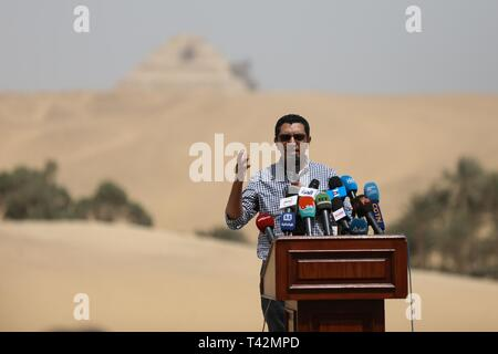 Giza, Egypt. 13th Apr, 2019. Mohamed Mujahid, Head of the Egyptian archaeological discoveries at the Saqqara burial ground, speaks during a press conference at the Saqqara burial ground, to announce the discovery of a 4,500-year-old tomb that belongs to Khoi, a nobility of the Fifth Dynasty of ancient Egypt. Credit: Hassan Mohamed/dpa/Alamy Live News - Stock Photo