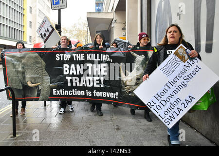 London, UK. 13th April 2019. Hundreds join the 5th Global March for Elephants and Rhinos march against extinction and trophy hunting murdering and killing animals for blood spots and ivory trade on 13 April 2019, London, UK. Credit: Picture Capital/Alamy Live News - Stock Photo