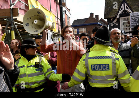 Wellington, Telford, Shropshire, UK, 13th April 2019. An anti racist counter protestors confronting The English Defence League march in Wellington, Shropshire. Credit: David Bagnall/Alamy Live News - Stock Photo