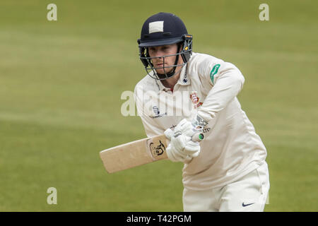 London, UK. 13 April, 2019. Robbie White batting as Surrey take on Essex on day three of the Specsavers County Championship match at the Kia Oval. David Rowe/ Alamy Live News - Stock Photo