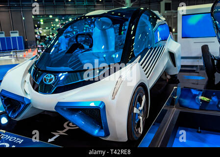 August, Japan, Tokyo.2018, Auto car exhibition. Auto of the future, the company Tayota. Auto exhibition of cars of the future. The car of the future i - Stock Photo