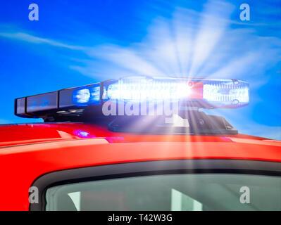 Emergency light on rescue vehicle - Stock Photo