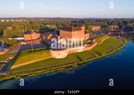 View of the ancient fortress on a sunny July morning (shooting from a quadrocopter). Hameenlinna, Finland - Stock Photo