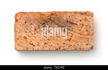 Top view of rough red clay brick isolated on white - Stock Photo