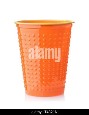 Disposable orange plastic cup  isolated on white - Stock Photo