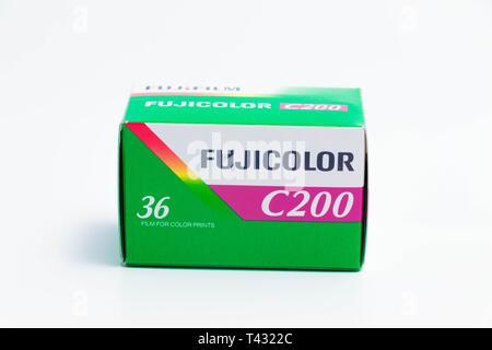 35mm film Kodak  and fujifilm fujicolor 36 exposure for analog photography - Stock Photo