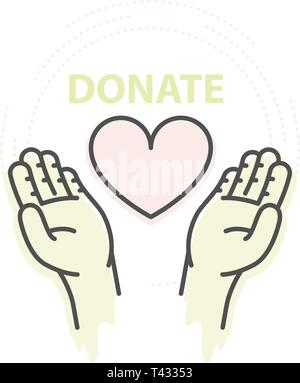 Hands hold heart - charity, donation and help concept - Stock Photo