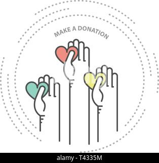 Charity, donation and philanthropy concept icon - hands with heart, help - Stock Photo