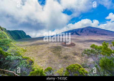 View of Piton de la Fournaise volcano, National Park  at Reunion Island - Stock Photo