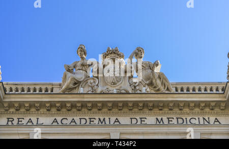 Facade detail of Real Academia Nacional de Medicina (Royal Academy of medicine) building. Built in 1912 by Luis Maria Cabello Lapiedra. Located in Arr - Stock Photo