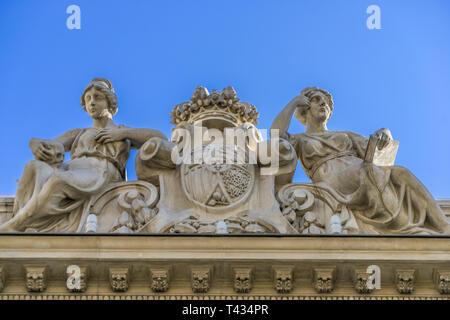 Facade detail of Real Academia Nacional de Medicina building. Built in 1912 by Luis Maria Cabello Lapiedra. Located in Arrieta Street, Madrid, Spain - Stock Photo