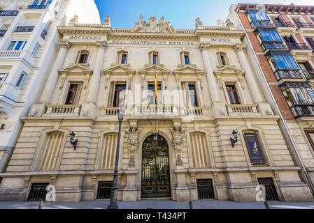 Facade of Real Academia Nacional de Medicina building. Built in 1912 by Luis Maria Cabello Lapiedra. Located in Arrieta Street, Madrid, Spain - Stock Photo