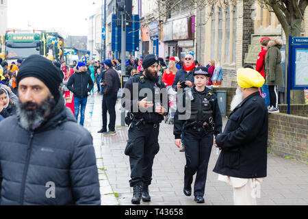 Gravesend, Kent, UK. Vaisakhi Festival 13th April 2019. Gravesend comes alive with colour as the Sikh community celebrate Vaisakhi. - Stock Photo