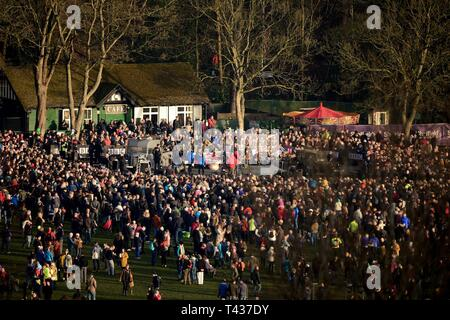 Thousands of U.K. residents arrived at Endcliffe park to honor the memory of 10 fallen U.S. Airmen of the B-17 Flying Fortress crew 'Mi Amigo,' during the Mi Amigo 75th Anniversary flypast event Feb. 22, 2019, at Sheffield, England. The war-crippled aircraft crash landed in the park to avoid killing residence and nearby children. - Stock Photo