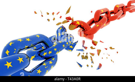 europe eu china crisis war and flag chain break suttered in peaces - 3d rendering - Stock Photo