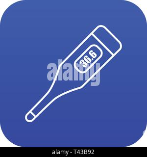 Digital thermometer icon blue vector - Stock Photo