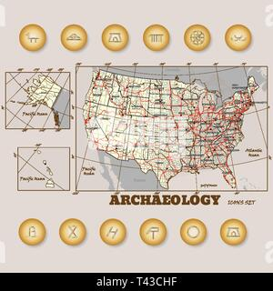 Set of colorful map archaeologycal pin. Vector illustration on USA map background - Stock Photo