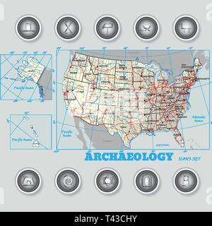 Set of colorful map archaeologycal marker. Vector illustration on USA map background - Stock Photo
