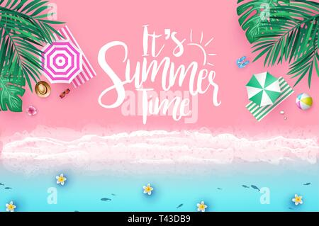 Top View Sea Side Beach Resort Background with It's Summer Time Message in Trendy Background Color with Palm Trees, Tropical Leaves, Umbrellas - Stock Photo