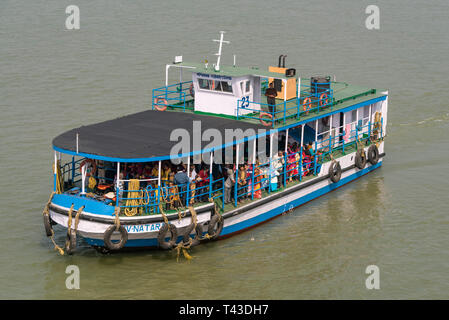 Horizontal aerial view of a ferry in Kolkata aka Calcutta, India. - Stock Photo