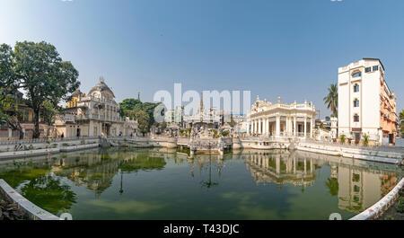 Horizontal panoramic view of the Calcutta Jain Temple complex in Kolkata aka Calcutta, India. - Stock Photo
