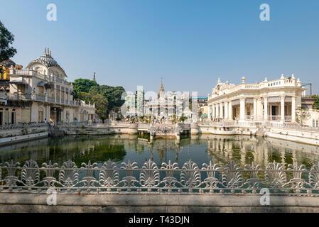 Horizontal view of the Calcutta Jain Temple complex in Kolkata aka Calcutta, India. - Stock Photo
