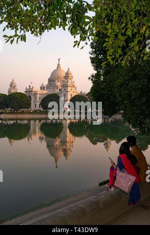 Vertical view of the Queen Victoria Memorial in Kolkata aka Calcutta, India. - Stock Photo