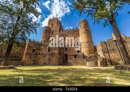 Fasil Ghebbi castles in Gondar, Ethiopia - Stock Photo