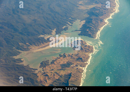 Ariel view of Whanganui Inlet, near Collingwood, South Island, New Zealand - Stock Photo