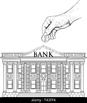 Vector black and white drawing of hand putting coin in bank building as piggy bank. Metaphor of investment and finance.
