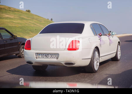 Red and white flowers bouquet . Closeup image of wedding car decoration . Wedding decorations on the hood of the car. Road . wedding cortege at the - Stock Photo