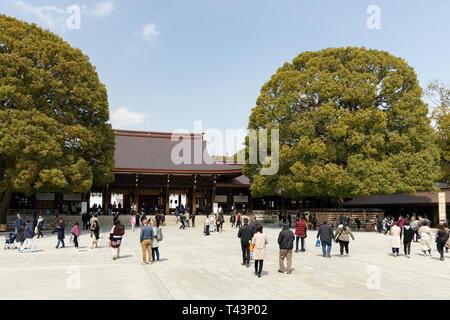 Meiji Jingu shrine in Tokyo, Japan on March 25, 2019. - Stock Photo