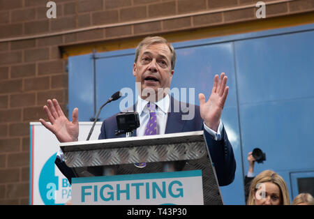Nigel Farage, Party Leader of the newly-Formed Brexit Party, officially launches the Party at a metal factory in Coventry. - Stock Photo