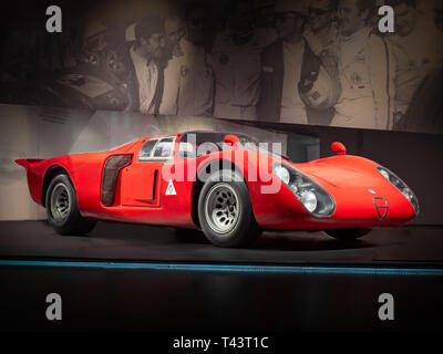ARESE, ITALY-FEBRUARY 13, 2019: 1968 Alfa Romeo TIPO 33/2 'Daytona' coupe in the Alfa Romeo Museum (Museo Storico Alfa Romeo) - Stock Photo