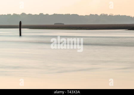 summer twilight over the coastline inside the lagoon in Bibione, Venice - Stock Photo