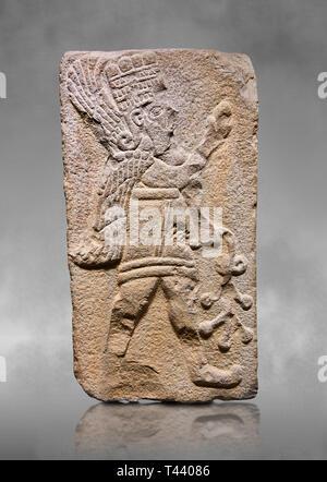 Aslantepe Hittite relief sculpted orthostat stone panel. Limestone, Aslantepe Malatya, 1200-700 B.C. Anatolian Civilizations Museum, Ankara, Turkey.   - Stock Photo
