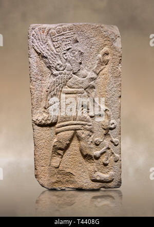 Aslantepe Hittite relief sculpted orthostat stone panel. Limestone, Aslantepe Malatya, 1200-700 B.C. Anatolian Civilisations Museum, Ankara, Turkey.   - Stock Photo