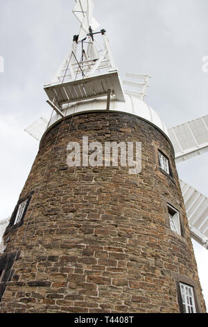 Historic Six Sailed Grade II Stone Tower Working Windmill in Heage - Stock Photo
